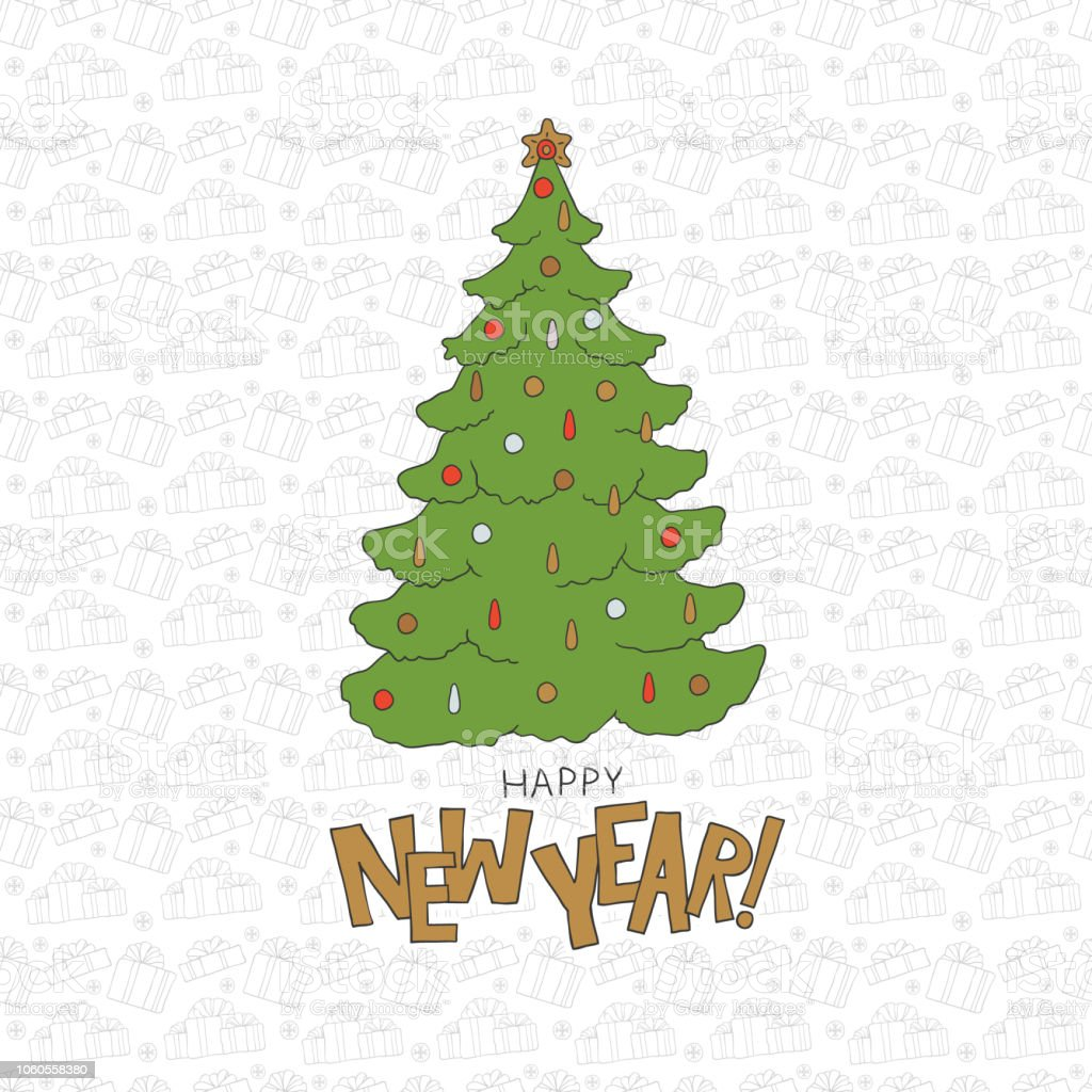 happy new year christmas tree cold lettering holiday symbols vector seamless pattern xmas socks