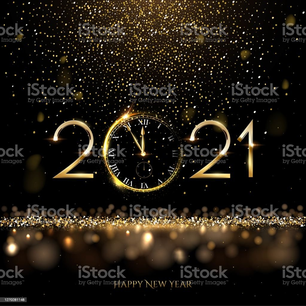 Happy new year clock countdown background. Gold glitter shining in light with sparkles abstract celebration. Greeting festive card vector illustration. Merry holiday poster or wallpaper design - Royalty-free 2021 arte vetorial