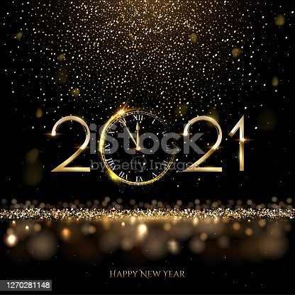 istock Happy new year clock countdown background. Gold glitter shining in light with sparkles abstract celebration. Greeting festive card vector illustration. Merry holiday poster or wallpaper design 1270281148