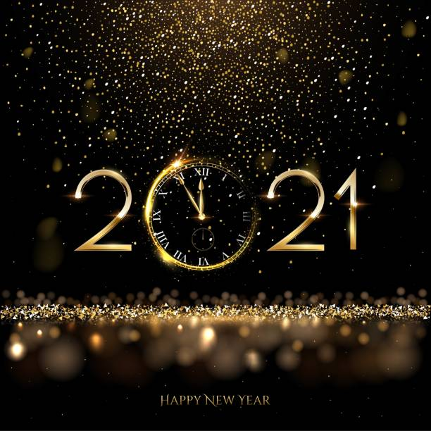 Happy new year clock countdown background. Gold glitter shining in light with sparkles abstract celebration. Greeting festive card vector illustration. Merry holiday poster or wallpaper design Happy new year clock countdown background. Gold glitter shining in light with sparkles abstract celebration. Greeting festive card vector illustration. Merry holiday poster or wallpaper design. 2021 stock illustrations