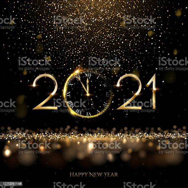 Happy New Year Clock Countdown Background Gold Glitter Shining In Light With Sparkles Abstract Celebration Greeting Festive Card Vector Illustration Merry Holiday Poster Or Wallpaper Design - Arte vetorial de stock e mais imagens de 2021