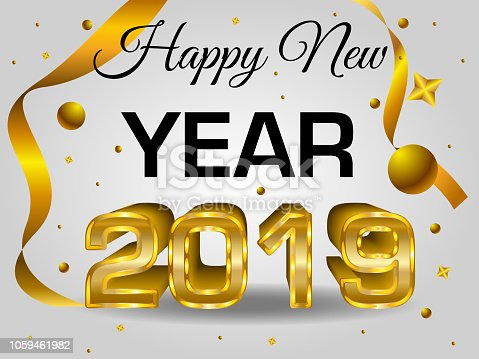 Happy new year colorful 3d text 2019 in gold color vector template with ball and confetti on - New years colors 2019 ...