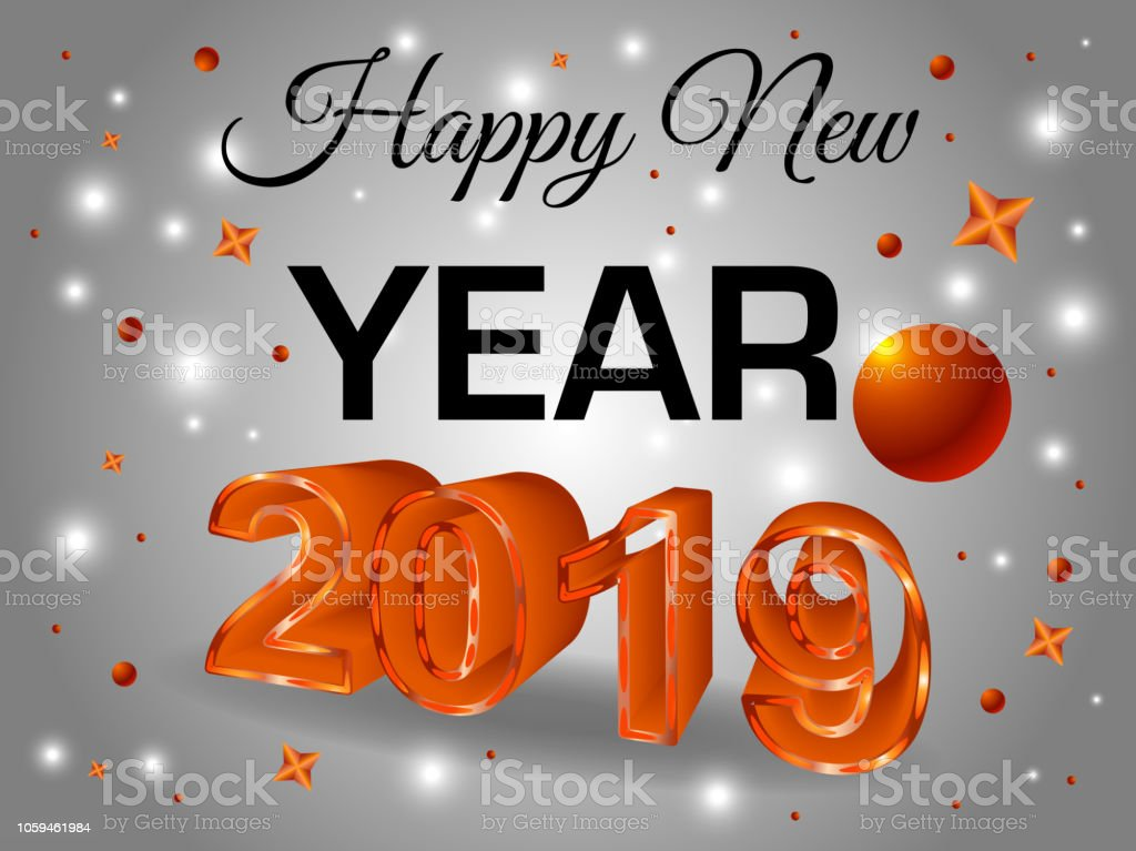 Happy new year colorful 3d text 2019 in red color vector - New year 2019 color ...