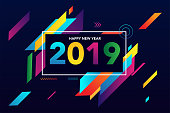 2019 Happy New Year colorful background creative design for your greetings card, flyers, posters, brochure, banners, calendar template design