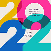 istock 2022 Happy New Year. Colorful creative design template with logo 2022 for celebration and season decoration. Year of the tiger. Trendy background for branding, calendar, multicolor card, banner, cover 1310783448