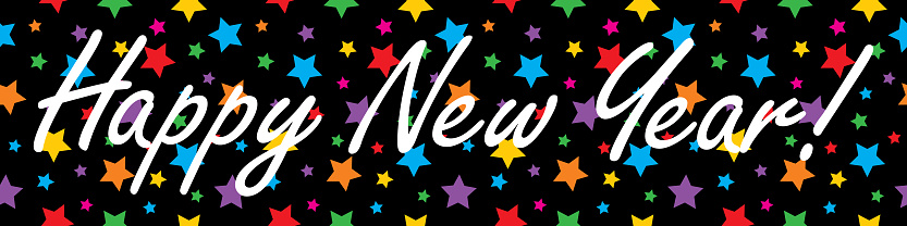 Happy New Year Colorful Stars Banner