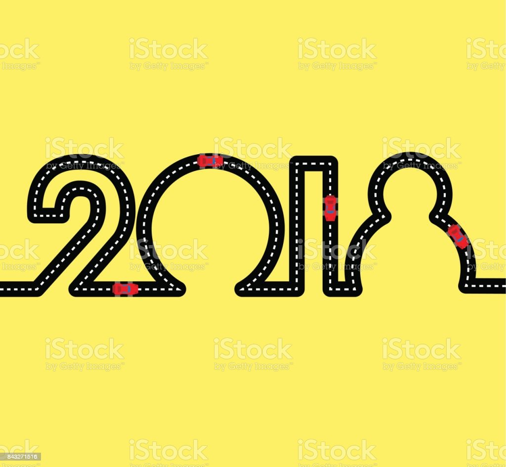 Feliz ano novo conceito - estrada em forma de figuras 2018 - ilustração de arte em vetor
