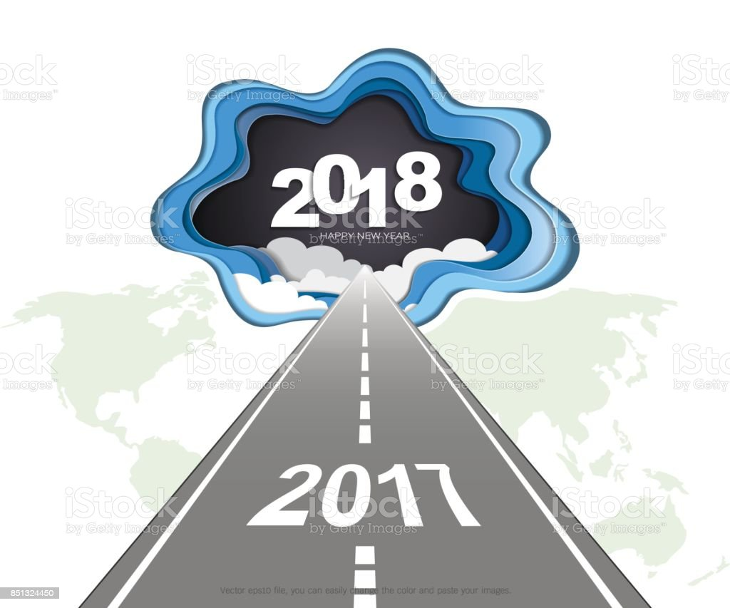 2018 Happy New Year Concept Symbols Of Beginning And Celebration