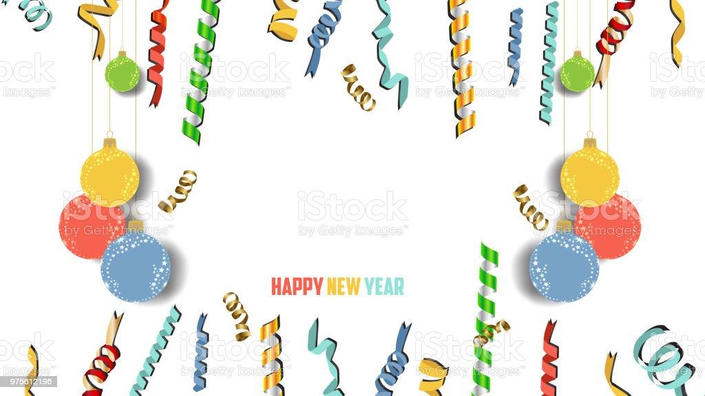 Frohes Neues Jahr Konfetti Und Gold Uhr Fest Farbenfrohe Begrüßung ...