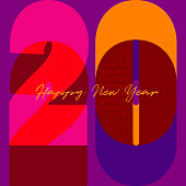 2020 A Happy New Year Congrats.Vibrant Colored Logotype. Abstract design template. This original artwork vector illustration can be a postcard, invitation, poster or flayer.