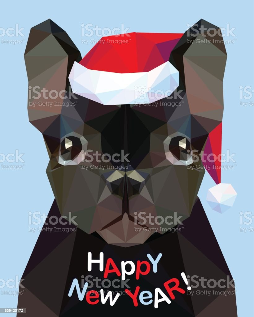 happy new year congratulation card french bulldog dog symbol of 2018 royalty