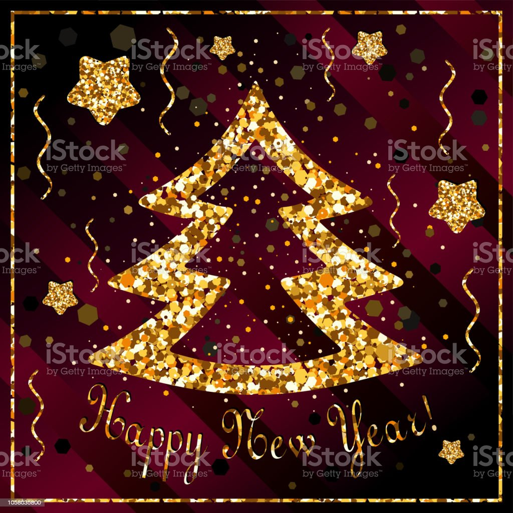 Happy New Year Congratulations With Christmas Tree And Stars Of Gold