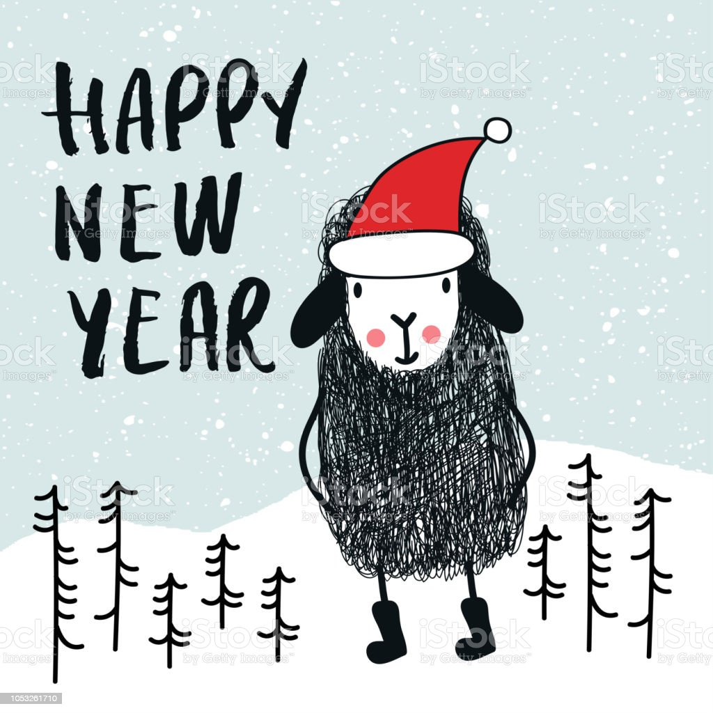 happy new year cute and fun card with sheep in santa hat decorations and