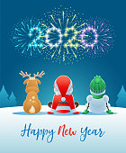2020 Happy New Year. Cute Santa Claus, Reindeer and Snowman watching the Fireworks. Vector illustration.