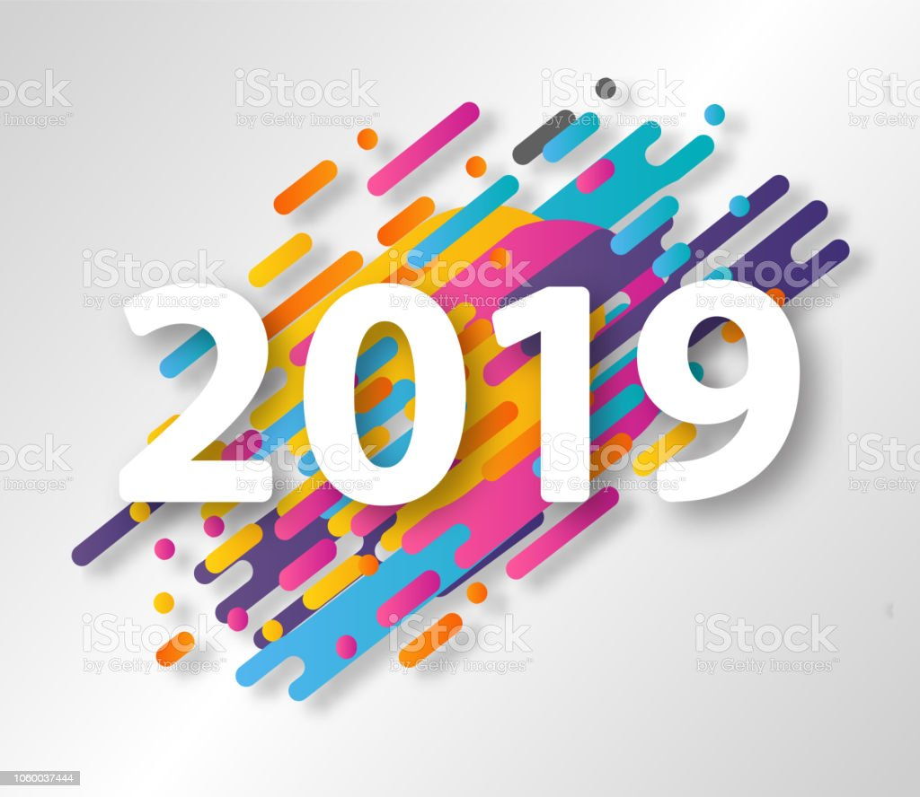 2019 happy new year design card on hipster halftone background vector illustration royalty