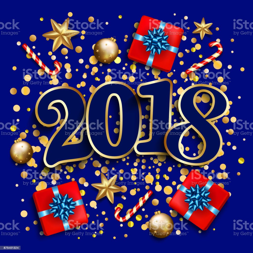 happy new year design layout on blue background with 2018 gift box gold confetti