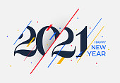 2021 Happy New Year design template. Logo Design for calendar, poster, banner, greeting cards or print. Brochure template vector illustration. Isolated on white background.