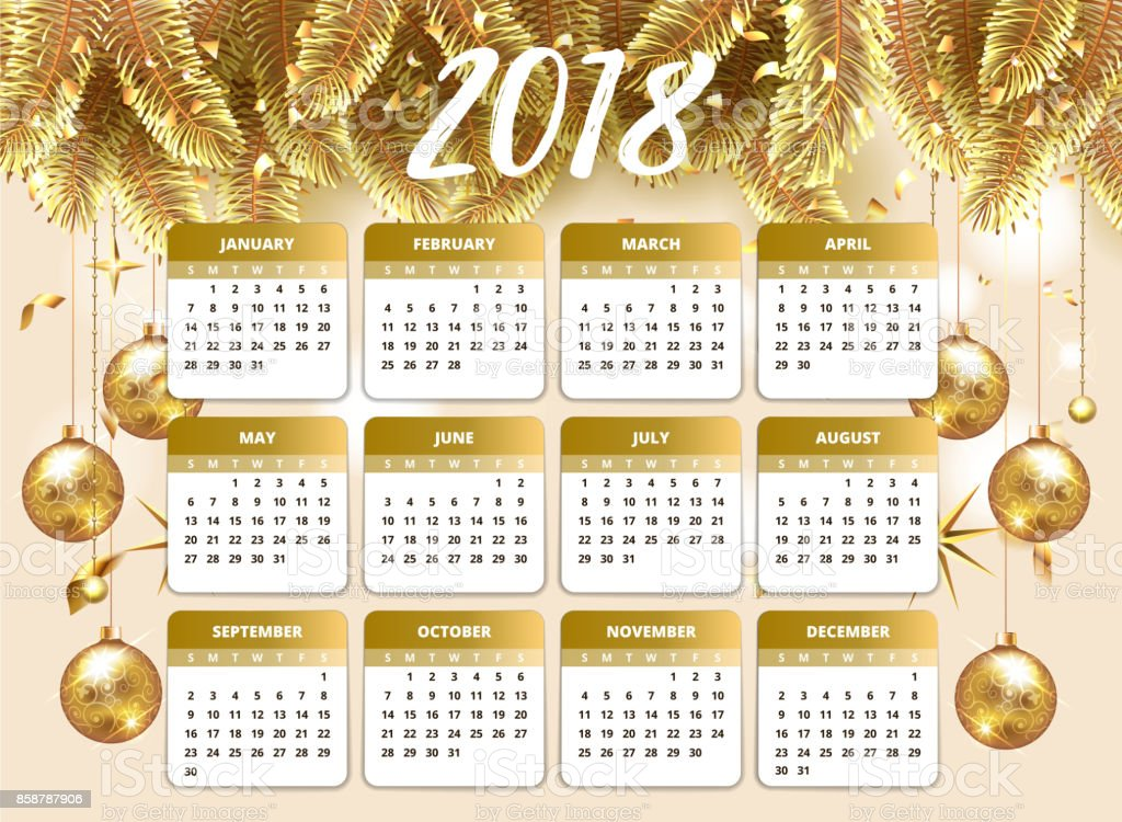 2018 Happy New Year Design Papier Peint Avec Calendrier Agenda