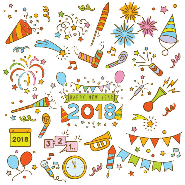 happy new year doodle elements vector art illustration party hat and noisemaker