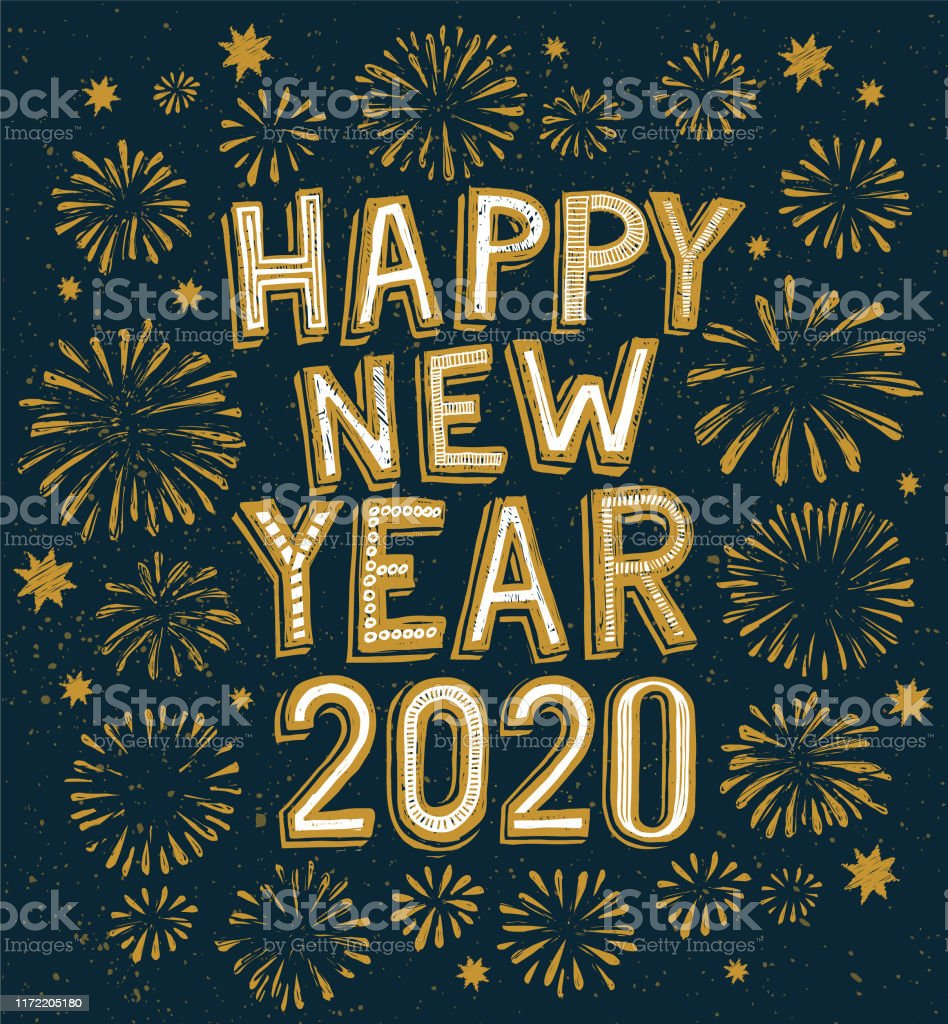 2020 happy new year doodle, fireworks on background - Royalty-free 2019 arte vetorial
