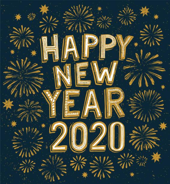 ilustraciones, imágenes clip art, dibujos animados e iconos de stock de 2020 feliz doodle de año nuevo, fuegos artificiales sobre el fondo - año nuevo