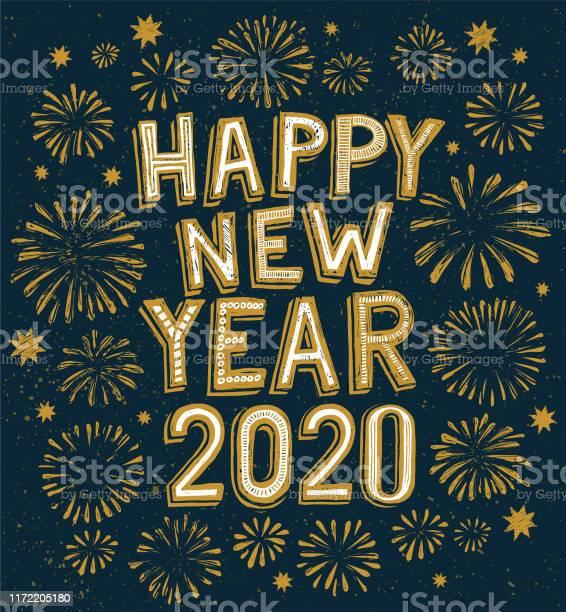 2020 Happy New Year Doodle Fireworks On Background - Arte vetorial de stock e mais imagens de 2019