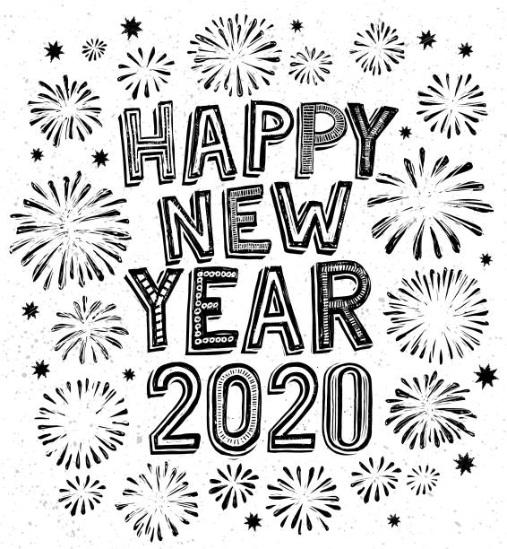 2020 happy new year doodle, fireworks on background vector art illustration