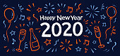 Modern  New Year's card with fireworks, 2020. You can edit the colors or sizes easily if you have Adobe Illustrator or other vector software. All shapes are vector