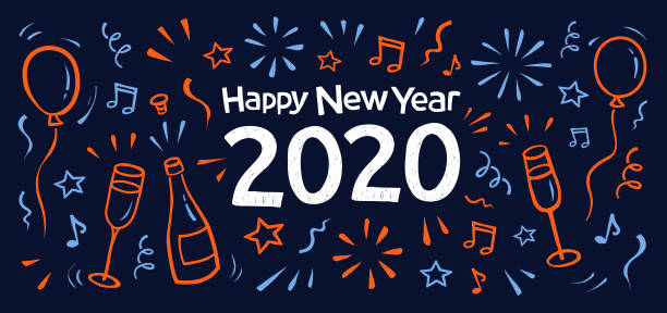 Happy new year doodle greeting card 2020. vector art illustration