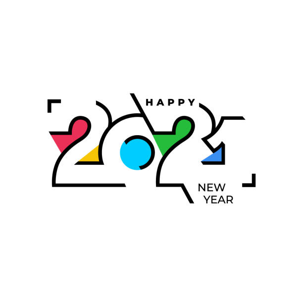 ilustrações de stock, clip art, desenhos animados e ícones de happy new year elegant design of colored 2021 logo numbers. typography for 2021 save the date luxury designs and new year celebration invite. vector illustration. isolated on white background. - passagem de ano