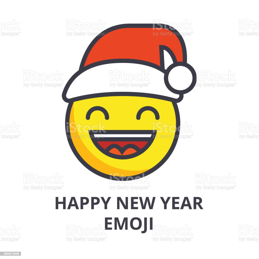 happy new year emoji vector line icon sign illustration on background editable strokes