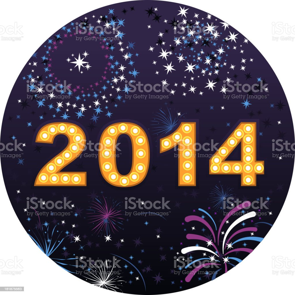 Happy New Year Eve 2014 With Fireworks display royalty-free stock vector art