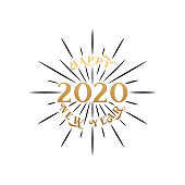 Happy New Year Eve 2020 Celebration vector design. New Year 2020 with Luxury Gold Color and isolated on white background. Cool Holiday New Year Banner, Greeting card, logo vector illustration.
