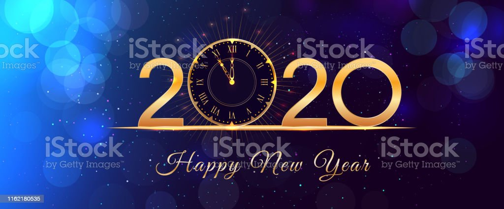 Happy New Year eve glowing text design with vintage gold clock on...