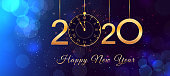 2020 Happy New Year eve text design with shiny golden numbers and vintage clock on blue background with bokeh effect, falling snow,  lights. Design template for holiday banner, poster, greeting card