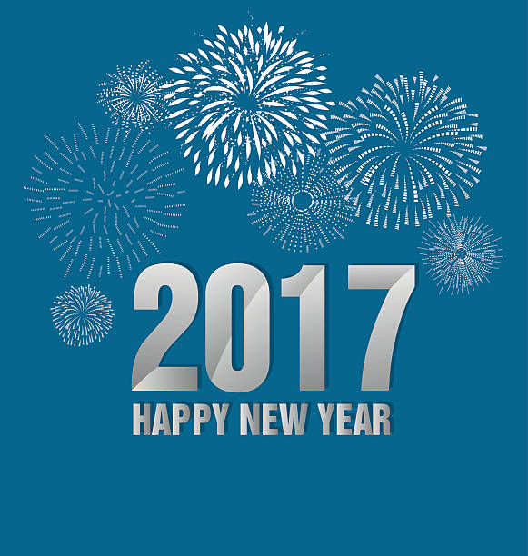 Happy new year fireworks 2017 holiday background design vector art illustration