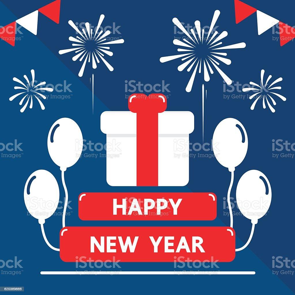 Happy new year flat design for holiday. happy new year flat design for holiday - stockowe grafiki wektorowe i więcej obrazów biały royalty-free