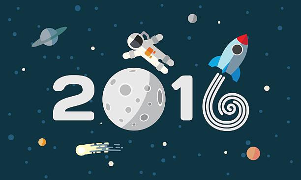 Happy New Year. Flat space theme illustration for calendar. vector art illustration
