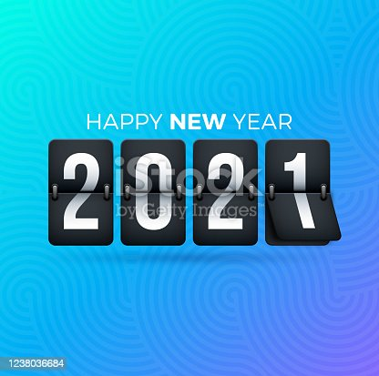 istock 2021 Happy New Year Flip Clock 1238036684