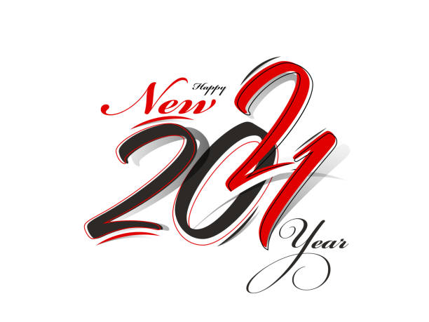 2021 Happy New Year Font in Red and Black Color on White Background. vector art illustration