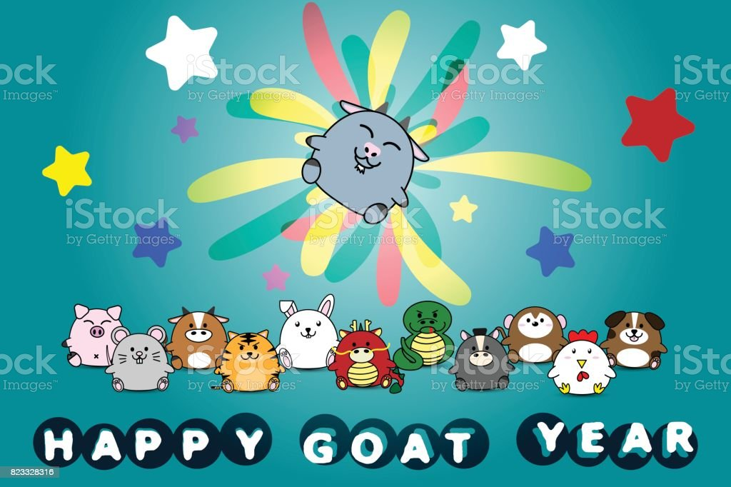 happy new year for goat year of animal symbol chinese zodiac horoscope in cartoon vector design