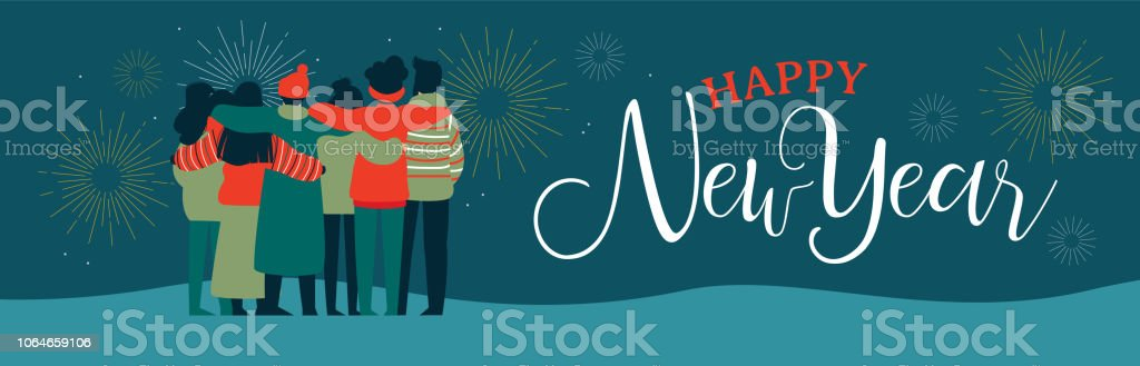 happy new year friend people group web banner royalty free happy new year friend people
