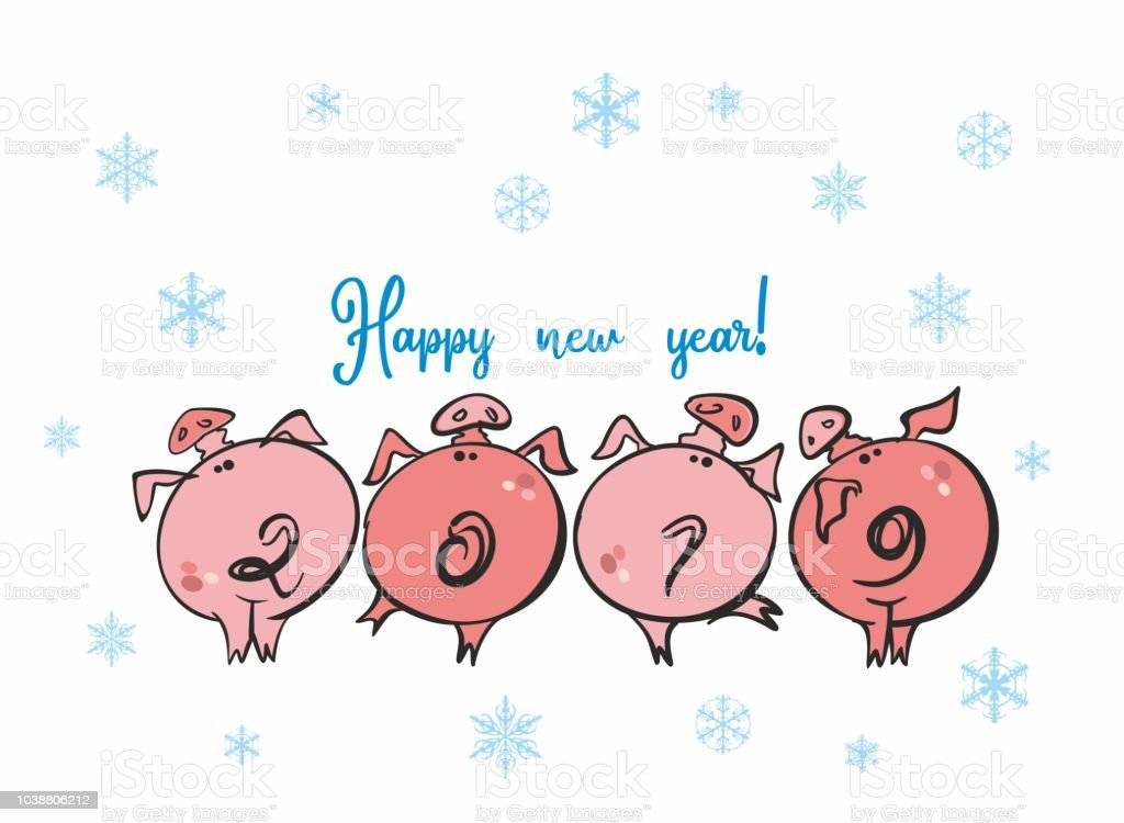 Happy New Year Funny Piglets 2019 Number Of Year In The Form Of The ...