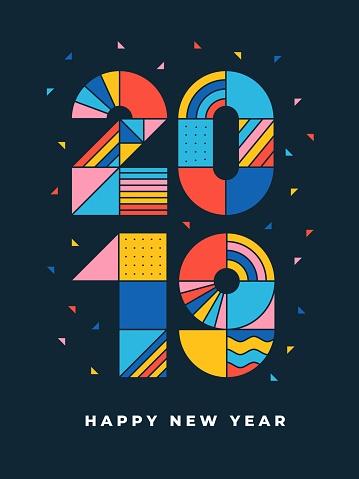 2019 Happy new year geometric typography