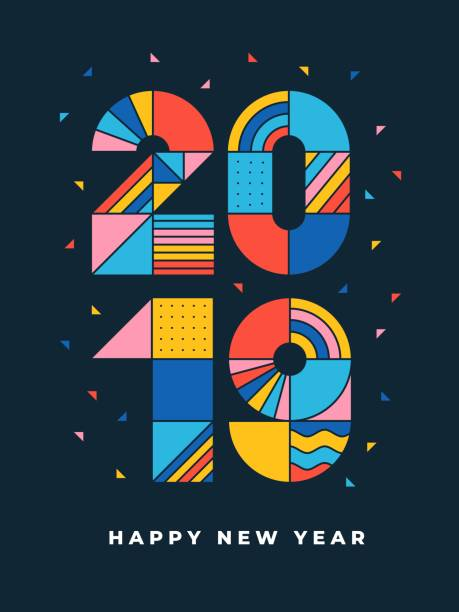 2019 Happy new year geometric typography You can edit the colors or sizes easily if you have Adobe Illustrator or other vector software. All shapes are vector fireworks illustrations stock illustrations