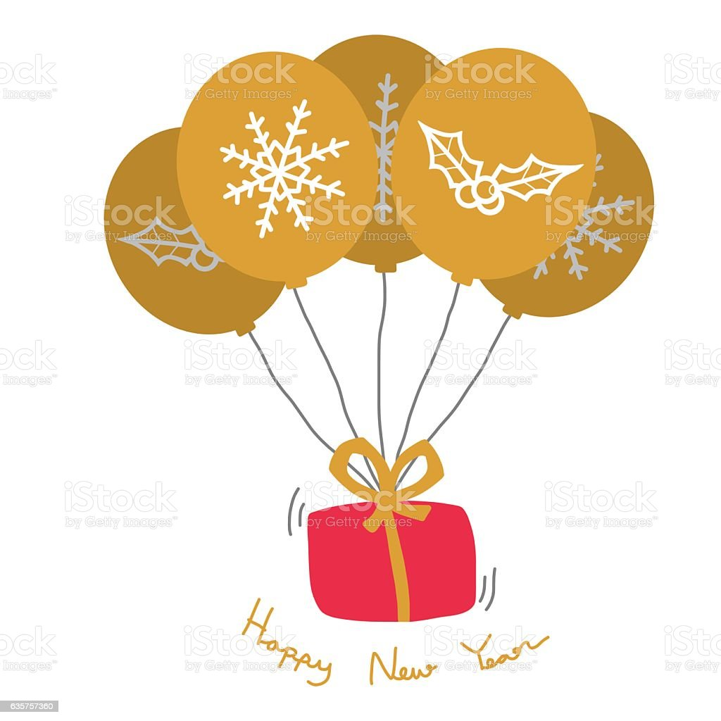 Happy new year gift box and gold balloon cartoon illustration stock happy new year gift box and gold balloon cartoon illustration royalty free happy new year negle Choice Image