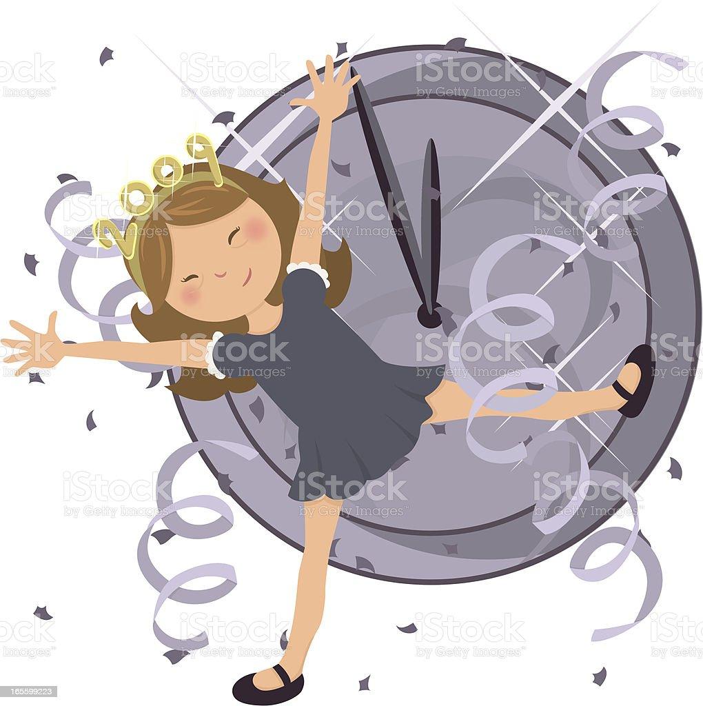 Happy New Year Girl vector art illustration