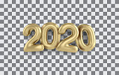 2020 Happy new year gold 3d sing. Numbers minimalist style balloon isolated. Vector realistic 2020 balloons in 3D style in gold color. Design of greeting card, banners, posters, headline