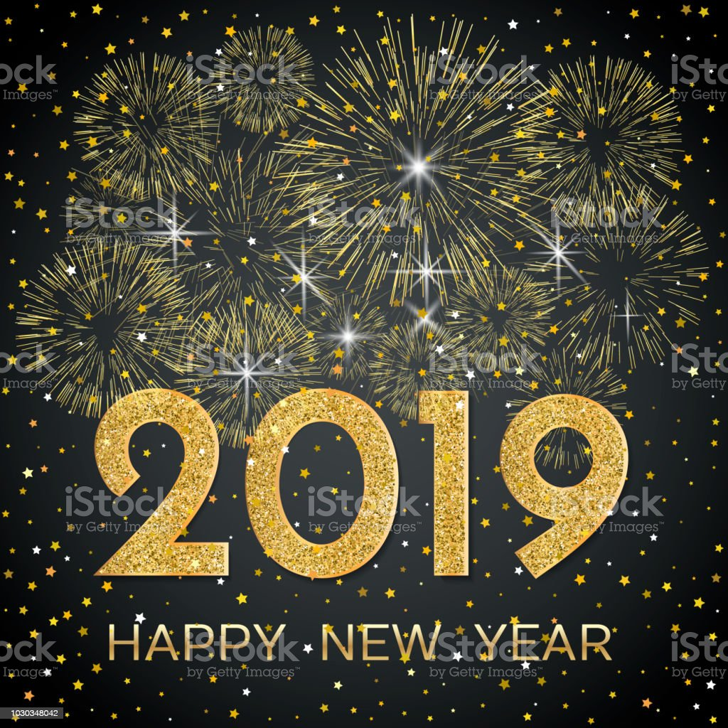 2019 happy new year gold fireworks and stars on dark background new year 2019