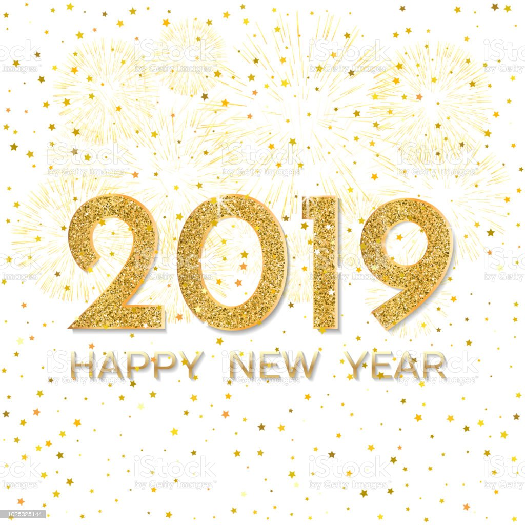 2019 happy new year gold fireworks on light background new year 2019 greeting card